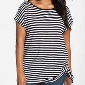 Michael Kors Stripe Side Tie Knot Top Short Sleeve